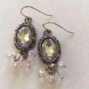 """""""Antique"""" framed crystal earrings"""